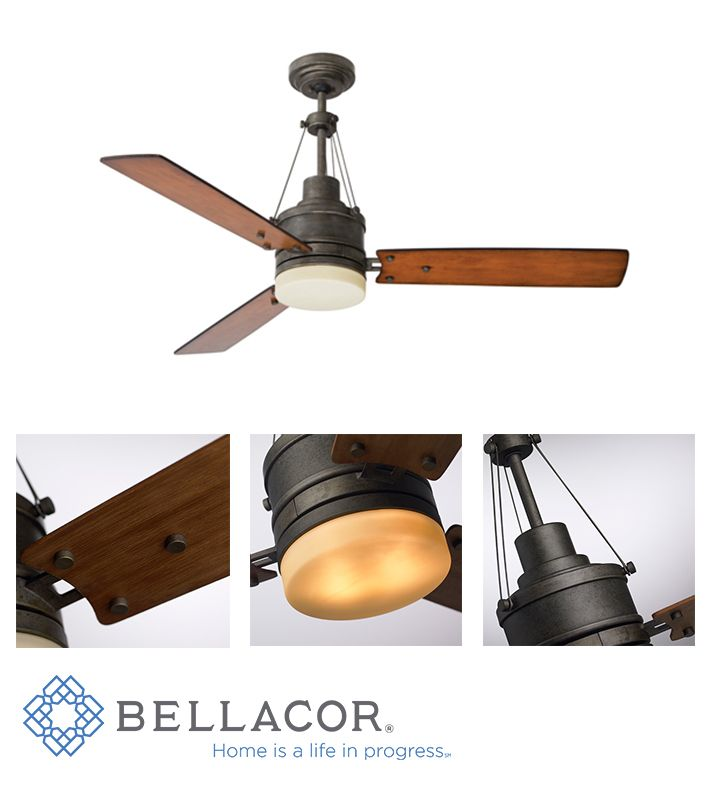 This architecturally inspired design captures a simple form with industrial details. Adorned in Emerson's new Vintage Steel finish, this cool look quickly warms with reversible Honey Oak and Riverwash Blades. With a 54-Inch span and an integrated light fixture, this fan is sure to inspire any vintage industrial space. http://www.bellacor.com/productdetail/emerson-fans-cf205vs-highpointe-vintage-steel-two-light-ceiling-fan-1525074.htm?partid=social_pinterestad_1525074