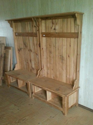 Reclaimed barn wood funiture hall tree foyer coat rack with bench