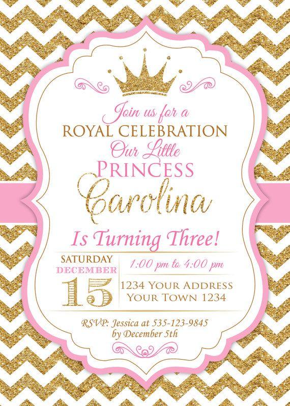 Invitación de princesa. Bebé niña primera por NiceStudioForYou