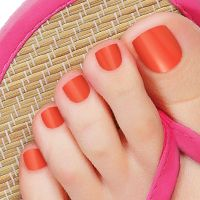 Sunkissed Pedicure - Your toes will dance in delight from this deep coral orange pedicure that will sizzle on your souls! #Nails #NailArt