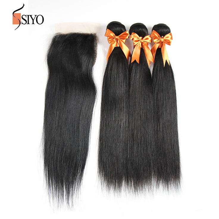 7A Brazilian Virgin Hair With Closure Brazilian Straight Virgin Hair 3 Bundles With Closure Human Hair Lace Closure With Bundles