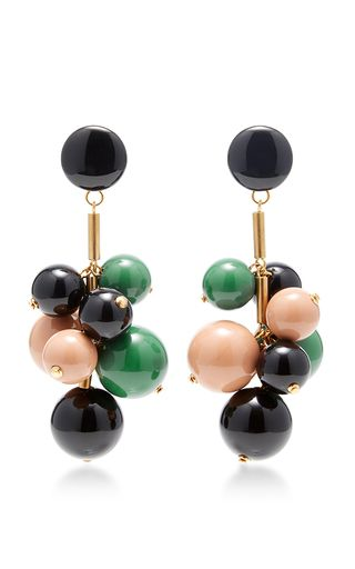 These **Marni** earrings feature a beaded cluster in complementary colors on gold hardware.