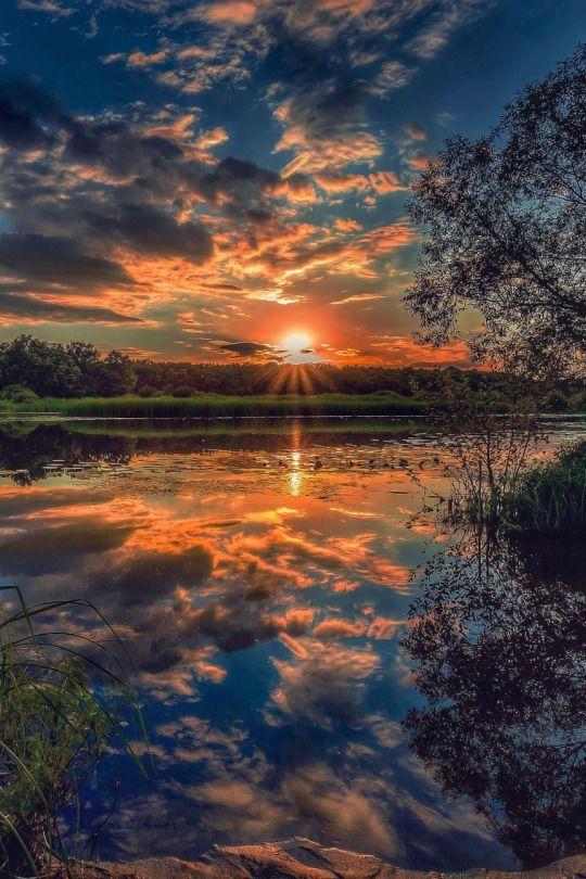 Sunset on the lake | nature | | sunrise |  | sunset | #nature  https://biopop.com/