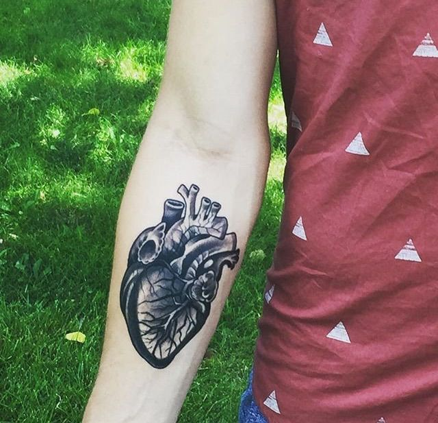 Anatomical heart tattoo steven campbell exile tattoo for Kansas city tattoo