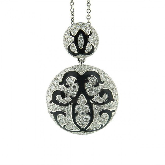 2.14ct Diamond and Black Enamel Pendant