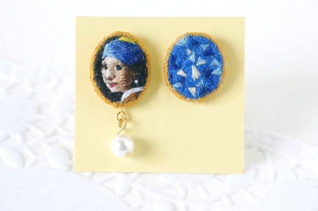 刺繍ピアス/フェルメール 真珠の耳飾りの少女 by designilnodo アクセサリー ピアス
