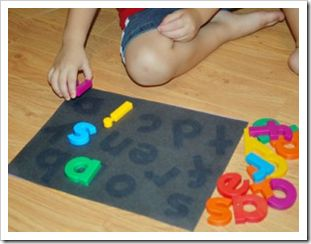 Leave magnet letters on black paper in the sun, the sun bleaches the paper and then you have a matching game. Laminate it for durability.
