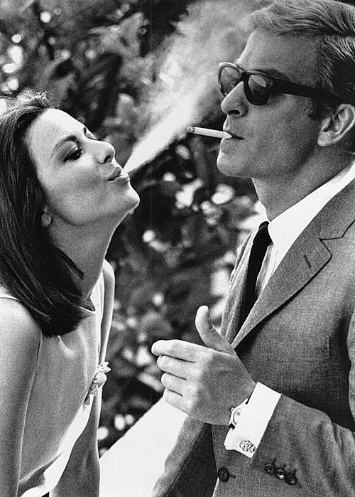 Michael Caine and Italian co-star Giovanna Ralli get to know one another on the set of Deadfall, 1968.