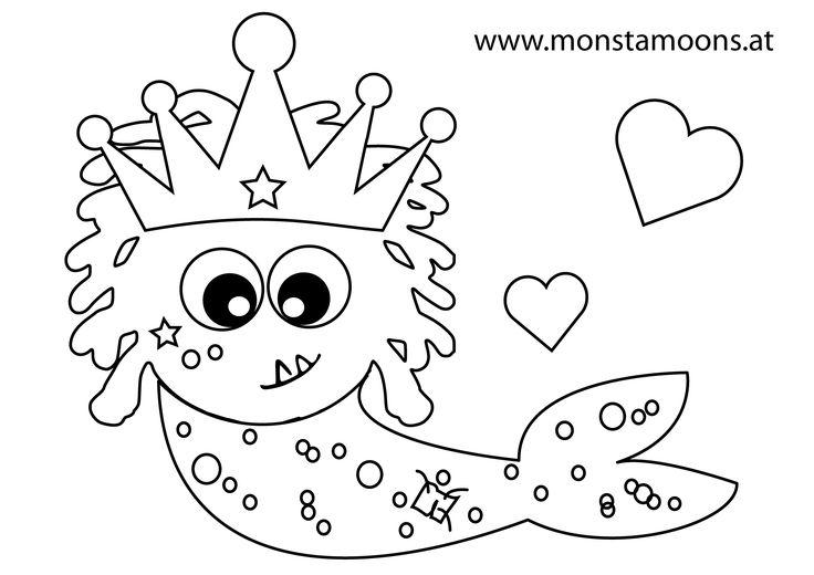 Gratis Ausmalbild, Meerjungfrau, colouring picture, freebie, mermaid pic