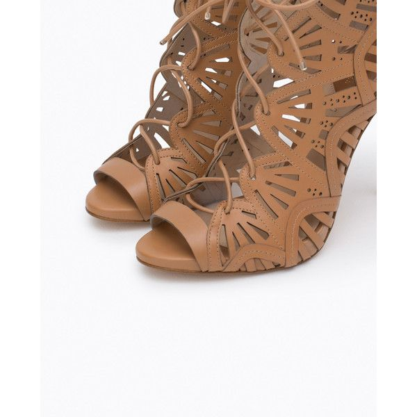 Zara Wraparound Leather Sandal (€125) via Polyvore featuring shoes, sandals, heels, zara, real leather shoes, genuine leather shoes, heeled sandals, zara sandals and wrap around shoes