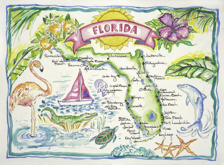 An inspiring watercolor for both natives and visitors, this image offers a colorful display of Florida. A peninsula with 1200 miles of coastline, Florida offers a variety of flora, fauna and coastal d