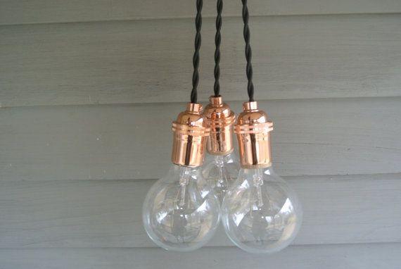 bulbs pendant lights and copper on pinterest bare bulb lighting