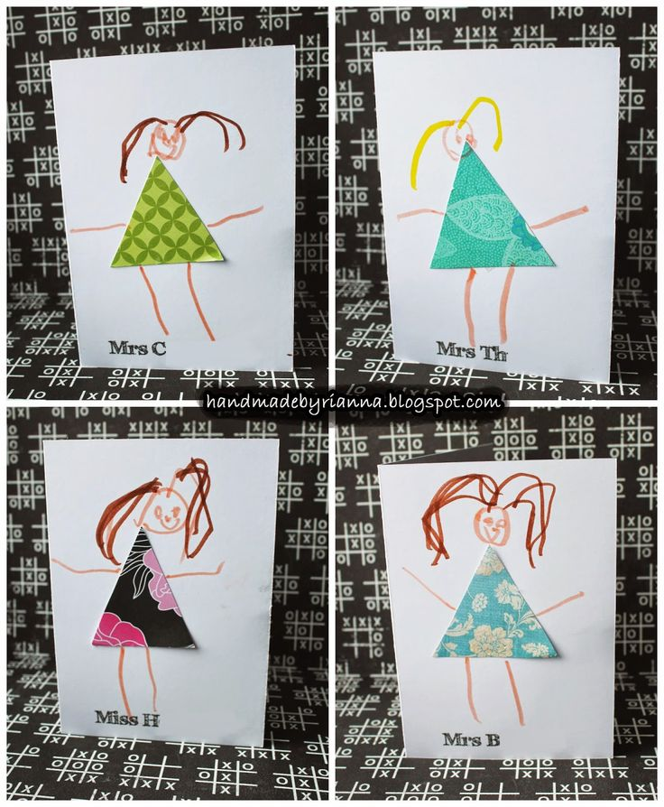 Simple Teacher thank you cards, your child or toddler can make themselves :)