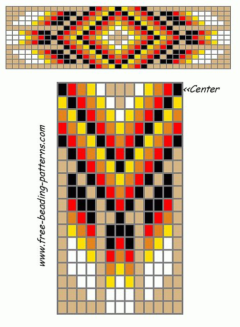 free-beading-patterns-barrette-tan-red-feathers