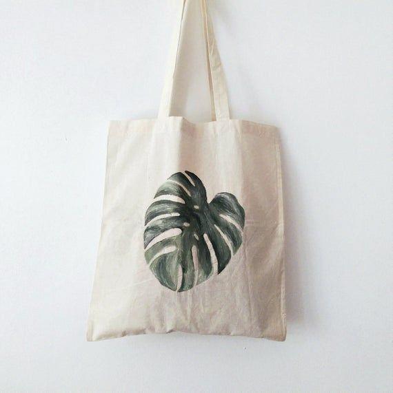 Monstera TOTE BAG, minimalistisch, handbemalt, Baumwolltasche, umweltfreundliche Tasche, …