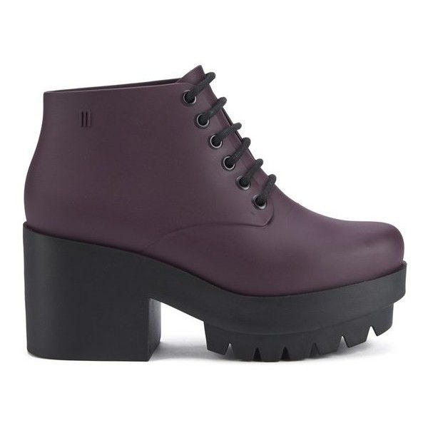 Melissa Women's Stellar Lace Up Ankle Boots - Plum (£63) ❤ liked on Polyvore featuring shoes, boots, ankle booties, zapatos, botas, purple, high heel ankle boots, lace up boots, high heel boots and short boots