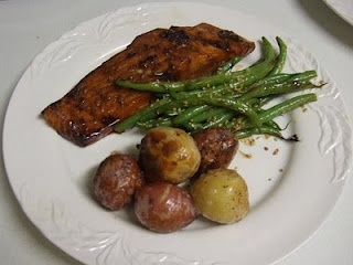 honey glazed salmon with sesame green beans and potatoes