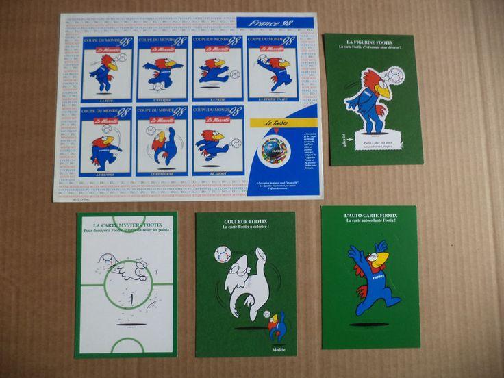 Lot postcard pretimbree Footix 98 world cup football stickers stamp  | eBay