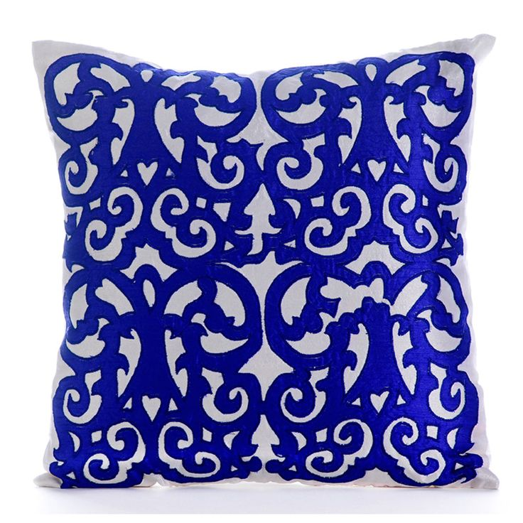 Decorative Throw Pillow Covers Accent Pillow Couch Sofa Pillow 18x18 Royal Blue & Ivory White Silk Pillow Cover Appliqued Royal Treatment by TheHomeCentric on Etsy