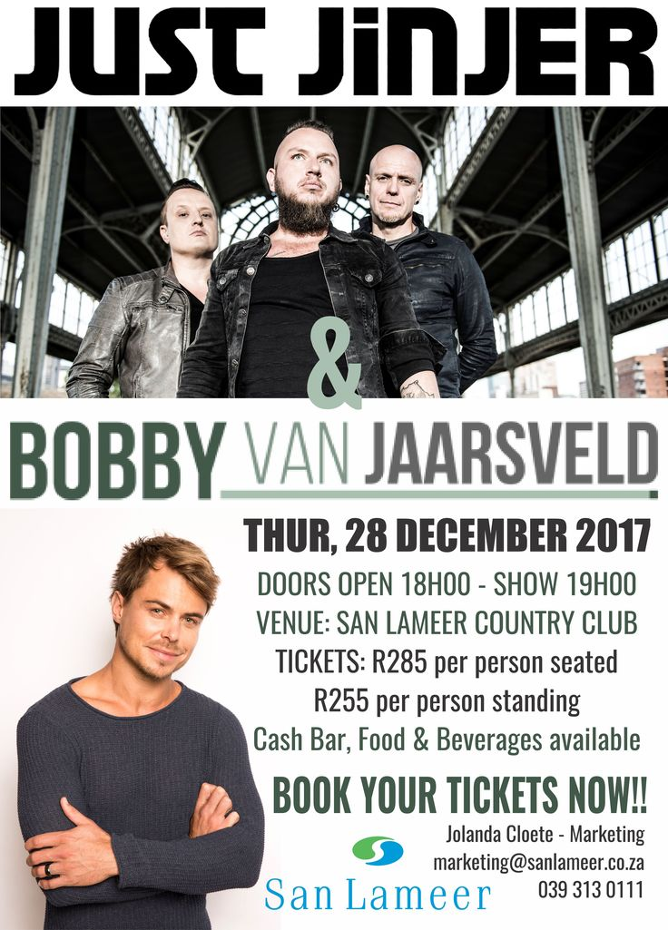 It's that time of the year again!! San Lameer Estate is proud to present JUST JINJER & Bobby Van Jaarsveld concert! Bookings are now officially open for our December 2017 music concert! 28 December 2017. Tickets available from marketing@sanlameer.co.za. Book your space early to avoid disappointment.