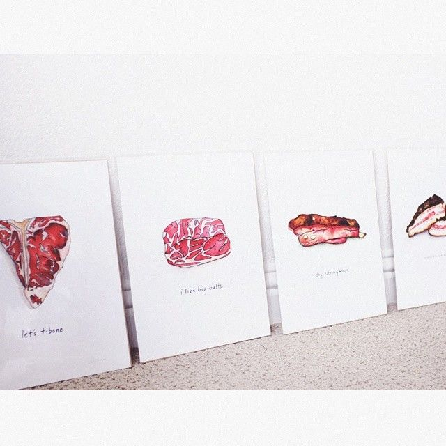 Inappropriate meat pun prints from Drywell Art via @lobese