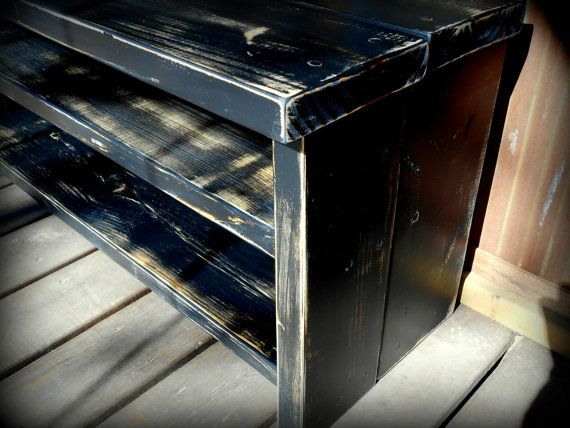 33 Rustic Black Shoe Rack Bench by TheHenryHouse on Etsy, $140.00