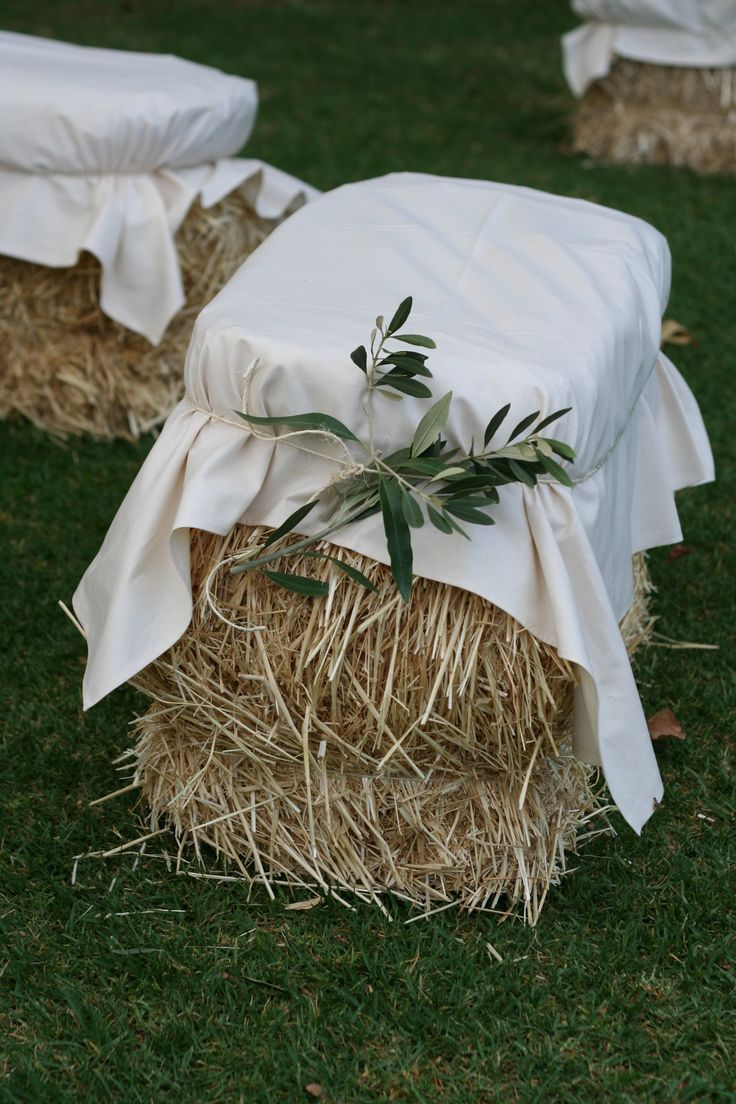 Hay Bale Seating / Olive Branch Foliage - The Props Dept., Adelaide, South Australia Wedding / Event Styling                                                                                                                                                      More