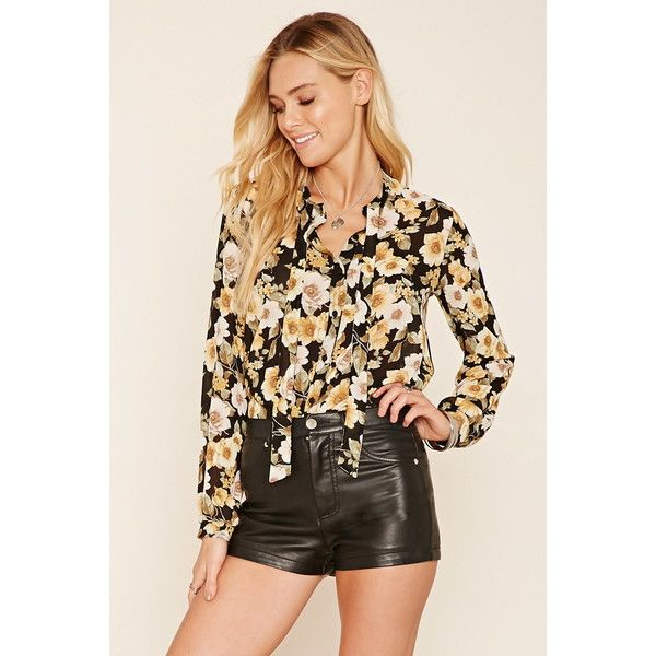 Forever 21 Women's  Floral Tie-Neck Blouse ($11) ❤ liked on Polyvore featuring tops, blouses, neck ties, flower print tops, floral print tops, tie neck top and floral print blouse