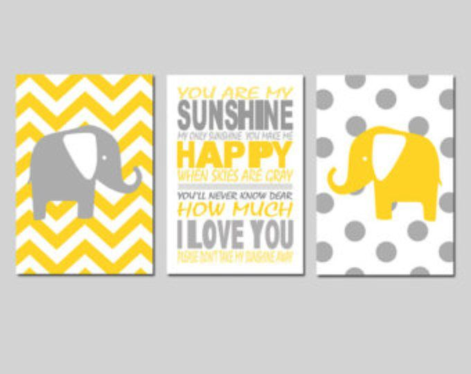 Yellow Gray Nursery Art Elephant You Are My Sunshine Trio - Set of Three 11x17 Prints - Polka Dot and Chevron - CHOOSE YOUR COLORS