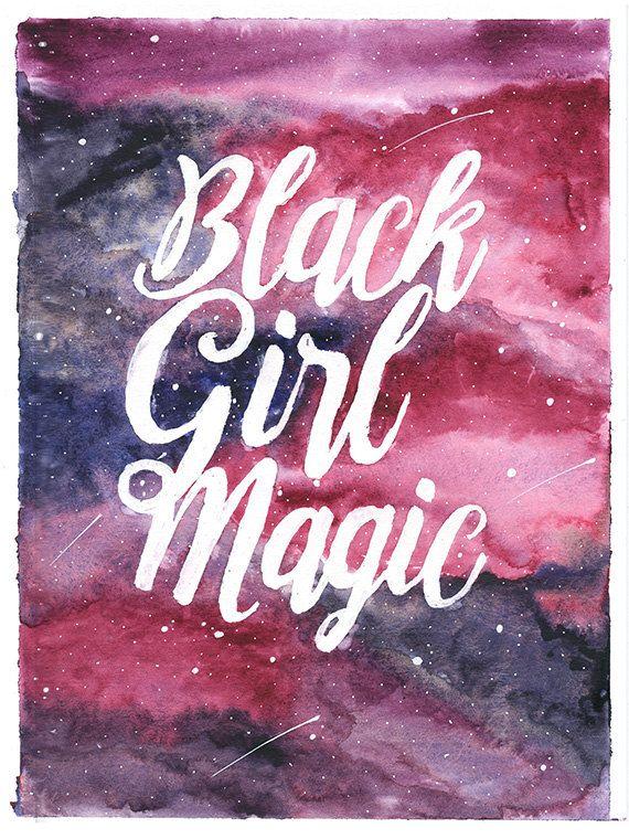 Black Girls Are Magic  Watercolor Print, Galaxy, Magenta -2994