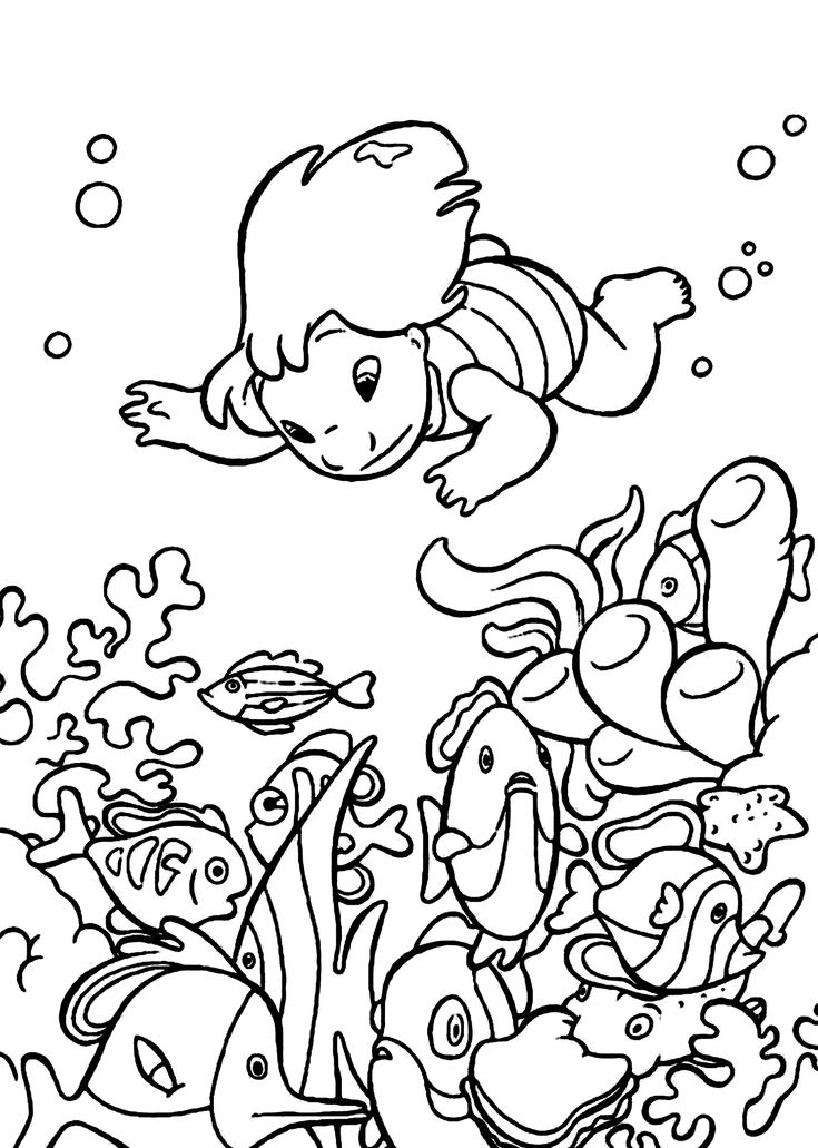 Lilo Underwater Coloring Pages For Kids Printable Free
