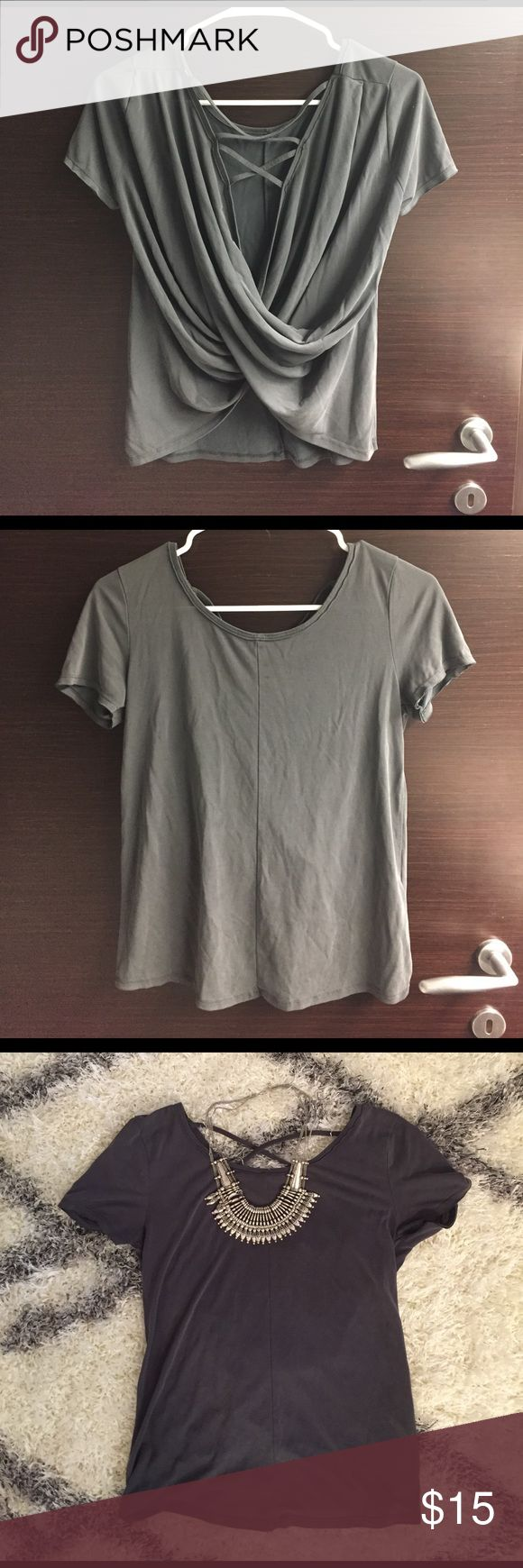 Black t shirt white cross on back - Abercrombie And Fitch Grey Cross Back T Shirt