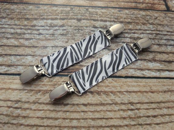 Pair of Mitten Clips - Double Sided - Zebra Print Black and White Animal Print Stripes Girl Infant Toddler Child Winter Accessory