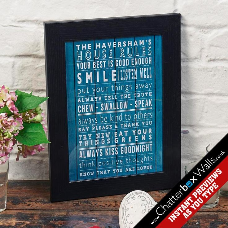Personalised framed family house rules word art print