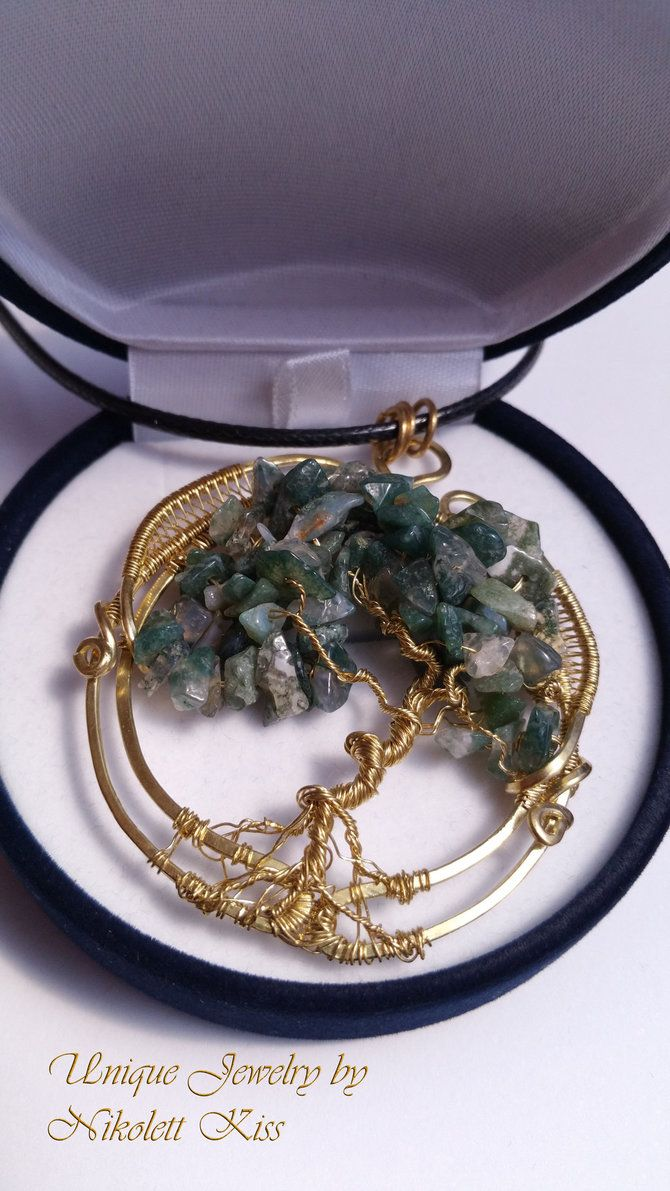 Wire Wrap Tree of Life Pendant with Moss Agate by NikolettKiss on DeviantArt