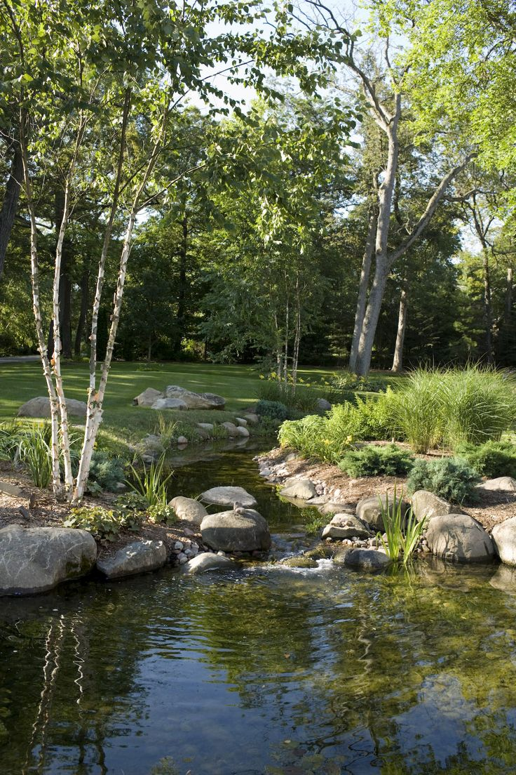 Best 25 backyard stream ideas on pinterest for Pond landscape