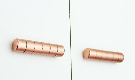 Modern Copper Ridged Knob. Contemporary Drawer Pull, Handle, Cabinet knob. Kitchen Cabinet knob. Kitchen Door Handle.