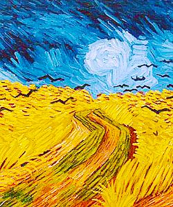 16. Van Gogh uses unity not only in the division of the sky and the wheat - keeping the colors together - but also in the brush strokes. The variety is in the two complementary colors and values.