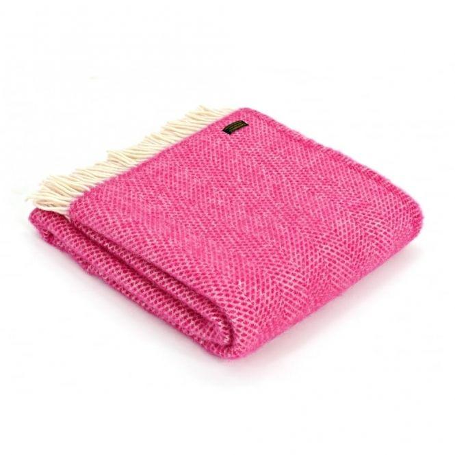 Tweedmill Pure New Wool Beehive Throw Blanket Cerise Pink