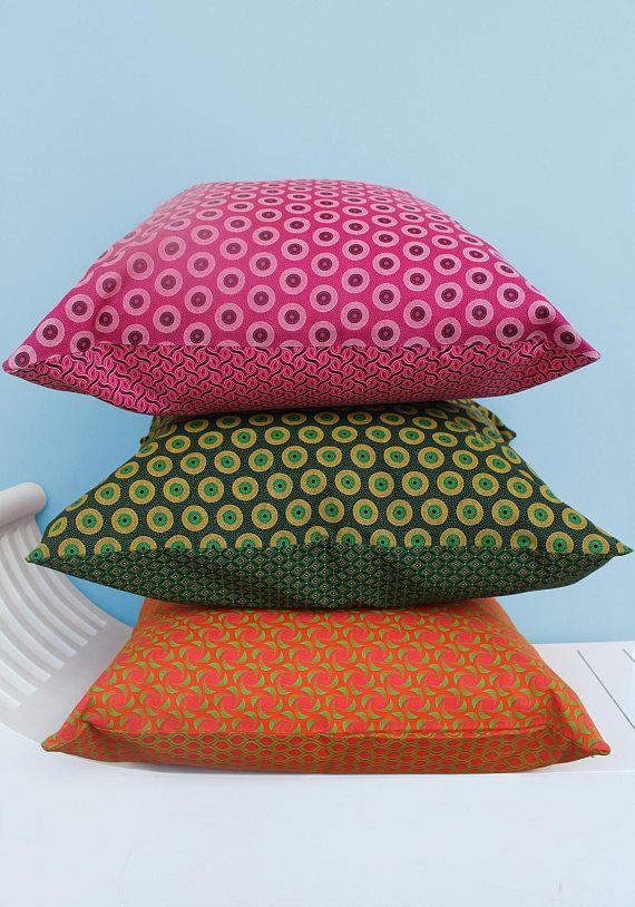 Mixed set of three Shweshwe scatter cushions 50 x 50cm: Illuminate your home with these eyecatching mixed print African Shweshwe cushions