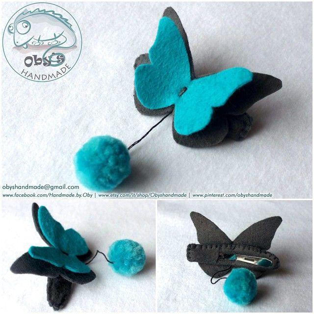 Obys Handmade Fermacapelli, molletta o spilla a forma di farfalla. In feltro e lana completamente fatta a mano.   Filz Haarclip mit Schmetterling, handgemacht.  --- Disegno originale della farfalla https://www.etsy.com/it/listing/85339536/pick-2-farfalla-fermacapelli-farfalle-su?ref=market ---