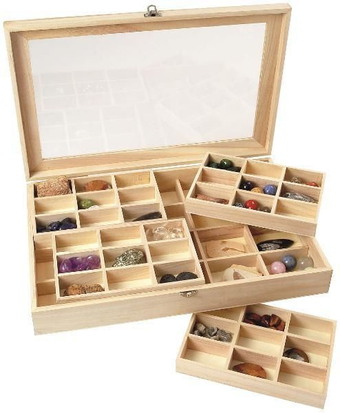 These perspex-fronted wooden boxes come with 56 storage compartments in two layers. Perfect for organising and displaying collections or children's treasures. A