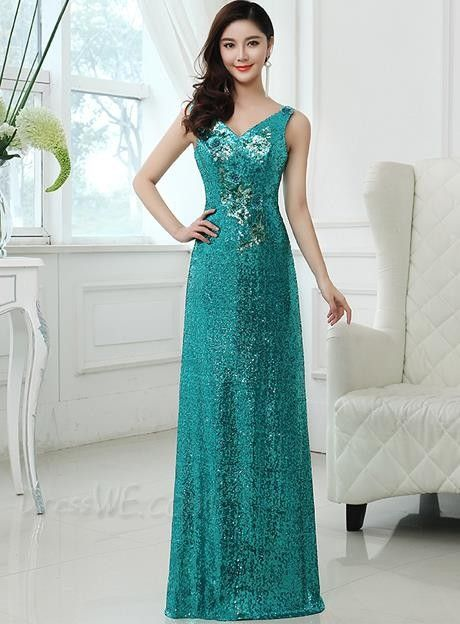 Charming Sequins V-Neck A-Line Zipper-Up Floor Length Prom Dress