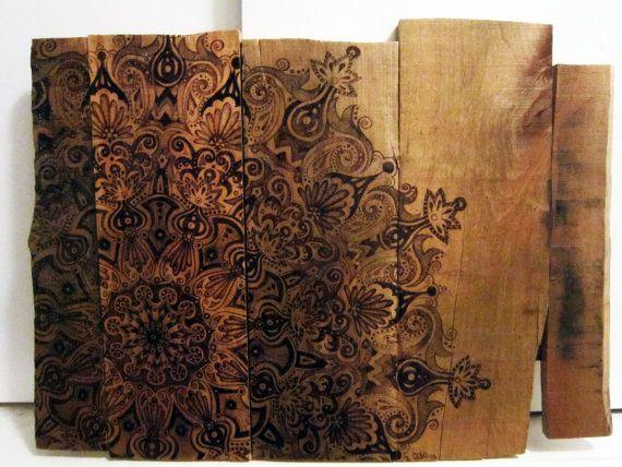 Original Artwork Rustic Wood Burned Mandala By Tuffjulz On