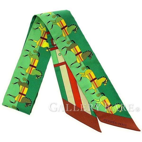 エルメス スカーフ ツイリー シルクツイル ロカバール Rocabar HERMES 馬&ベルト柄 シルクスカーフ