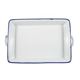 """Prepare a lovely homemade meal with this cooking essential, brimming with charming, farmhouse-inspired style.Product: Baking panConstruction Material: TinplateColor: White and blueFeatures: Great addition to any kitchenDimensions: 2"""" H x 14"""" W x 9.5"""" DCleaning and Care: Dishwasher and oven safe Shipping: This item ships small parcelExpected Arrival Date: Between 05/05/2013 and 05/13/2013Return Policy: This item is final sale and cannot be returned"""