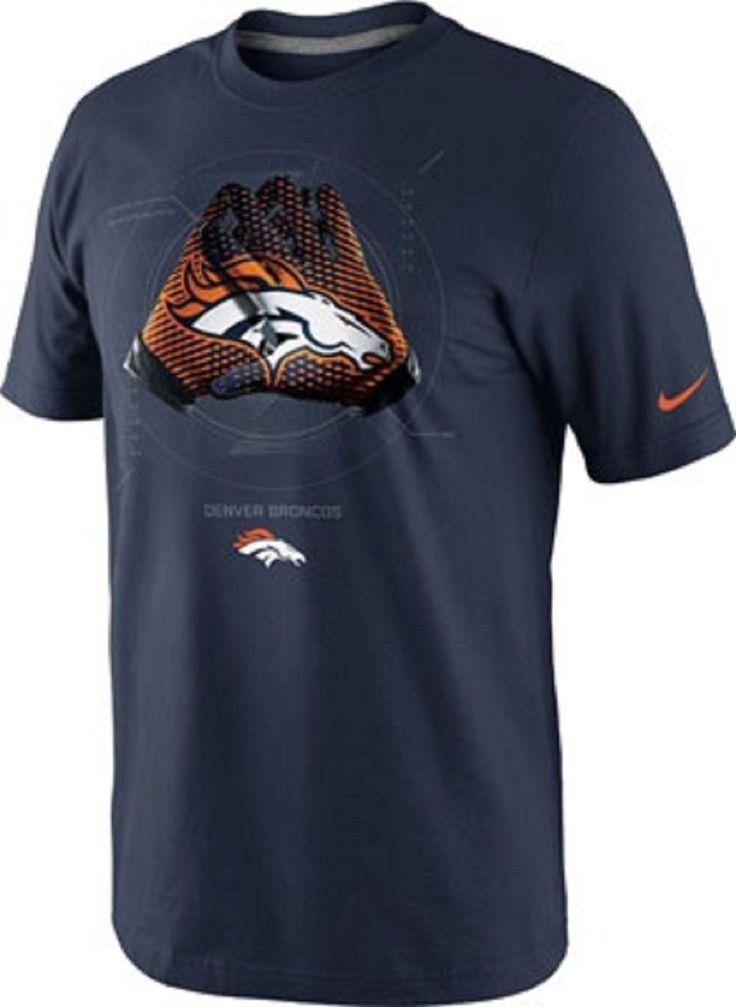 Nike NFL Denver Broncos Men's Blue Lock up Gloves Logo T-Shirt Sz Small