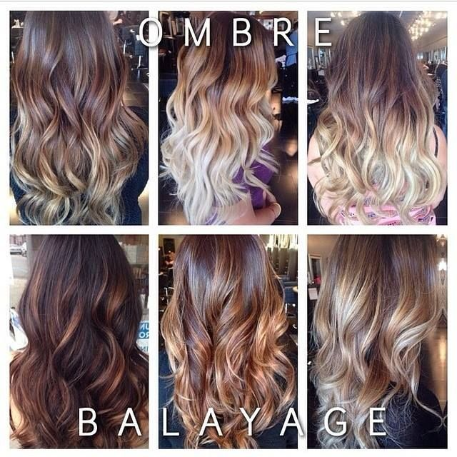 Ombre vs. Balayage. Ombré has a much heavier placement to create a bolder look with more contrast between the colours. With balayge, the colour is lightly swept on the hair to softly enhance the base colour and create subtle dimension within. Both are a rooted look with low maintenance upkeep.