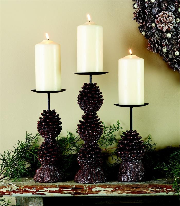 Winter Wedding Table Decor Pinecone Candleholders Rustic Country Decorations Ideal For Country