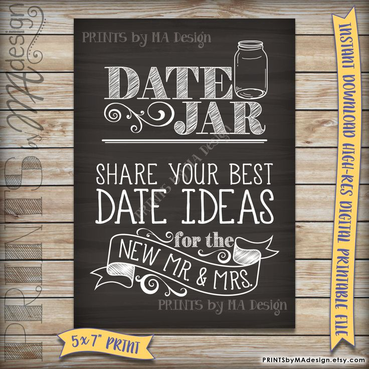 Date Ideas Jar Sign, Share your best date ideas with the new Mr & Mrs, Shower, Wedding, Chalkboard, Instant Download Digital Printable File by PRINTSbyMAdesign on Etsy